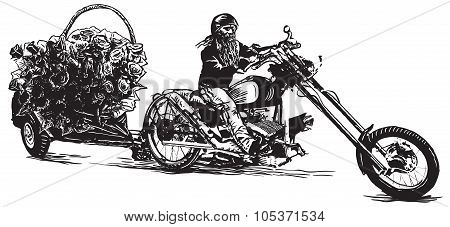 Biker And Roses, An Hand Drawn Vector Illustration