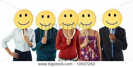 Geschäftsleute mit Emoticon