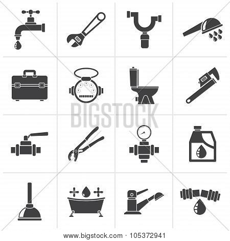 Black plumbing objects and tools icons