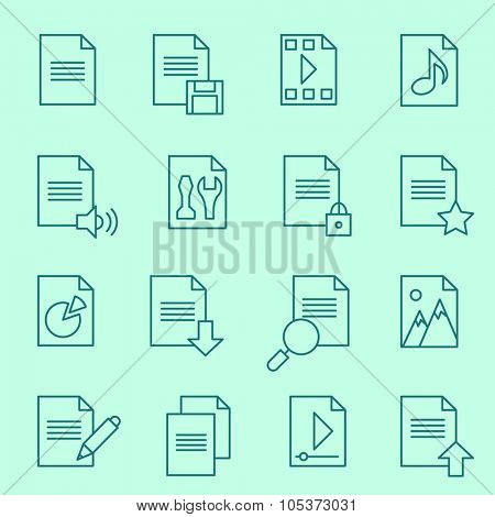 Document icons, thin line design