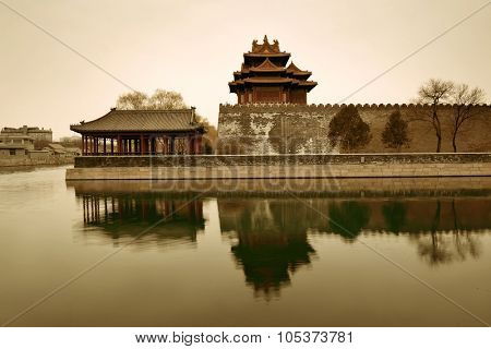 Corner Tower in black and white in Imperial Palace in Beijing, China