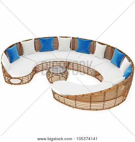 Rattan sofa patio with coffee table. 3D graphic