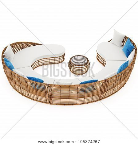 Rattan large sofa curved. 3D graphic