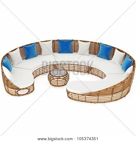 Modern rattan sofa for rest. 3D graphic