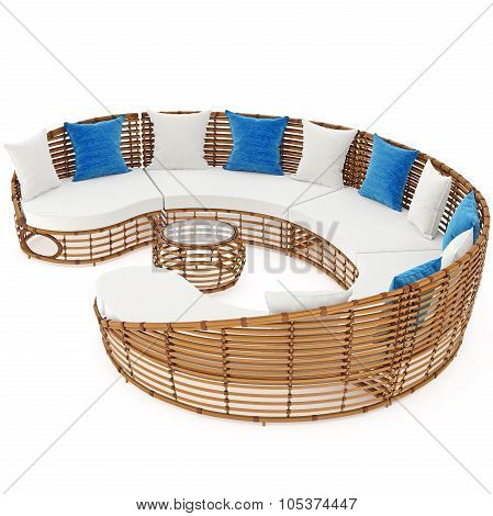 Sofa and table with rattan. 3D graphic