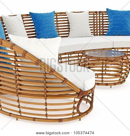 Rattan sofa end coffee table an close view. 3D graphic