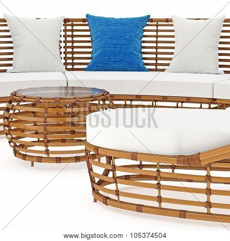 Rattan sofa in close view. 3D graphic