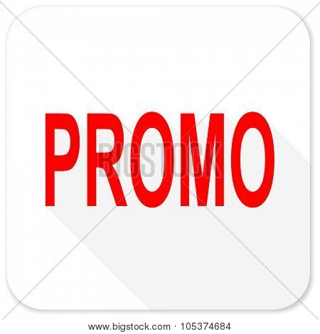 promo red flat icon with long shadow on white background