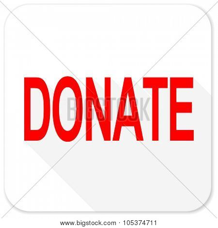 donate red flat icon with long shadow on white background