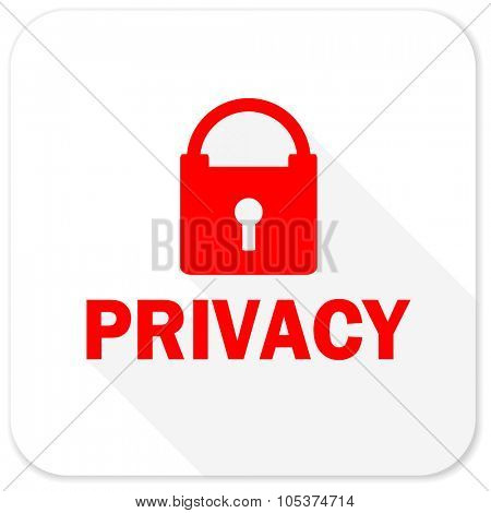 privacy red flat icon with long shadow on white background