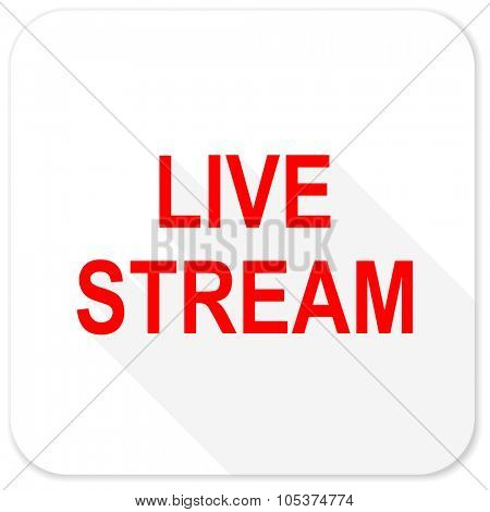 live stream red flat icon with long shadow on white background