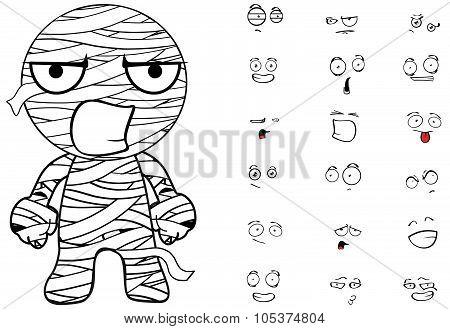 angry mummy cartoon emotions set