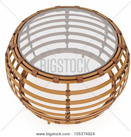Rattan coffee table. 3D graphic