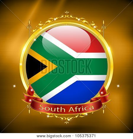 Flag Of South Africa In Gold