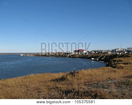Coastal Landscape Of The Tundra Settlement