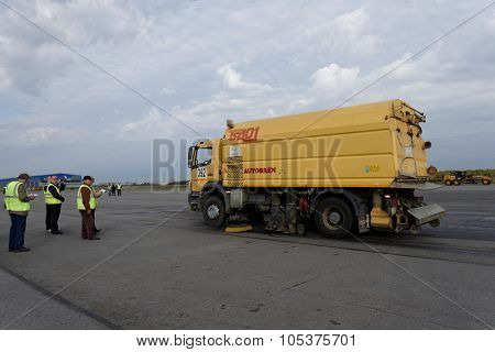 ST. PETERSBURG, RUSSIA - SEPTEMBER 24, 2015: Airport sweeper TSA01 of Autobren during the annual review of equipment in the Pulkovo airport. The review is held in order to prepare to winter