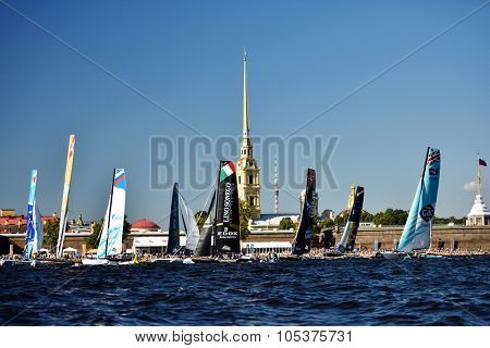 ST. PETERSBURG, RUSSIA - AUGUST 22, 2015: Extreme 40 catamarans during the 3rd day of St. Petersburg stage of Extreme Sailing Series. The Wave, Muscat team of Oman leading after 2 days