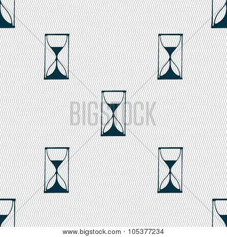 Hourglass Sign Icon. Sand Timer Symbol. Seamless Abstract Background With Geometric Shapes.
