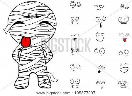 mummy cartoon emotions set