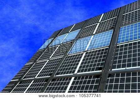 Large Solar Panel Installation And Blue Sky