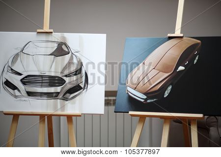 RUSSIA, MOSCOW -?? 4 DEC, 2014: Photos and illustrations at the press event for Ford in SREDA loft.
