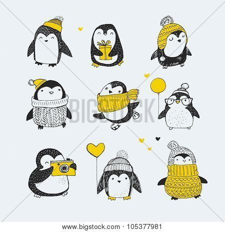 Cute hand drawn, vector penguins set - Merry Christmas greetings