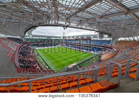 RUSSIA, MOSCOW - NOV 02, 2014: Football teams play on the field of Locomotive sports arena.