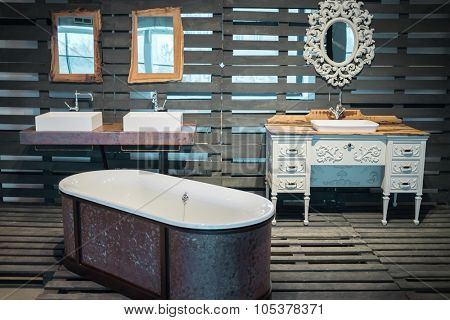 RUSSIA, MOSCOW - 07 DEC, 2014: Vintage beautiful bath and sinks in wooden pavilion at Artplay center of design.