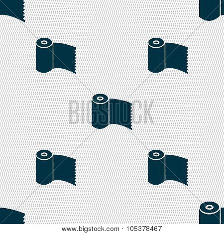 Toilet Paper, Wc Roll Icon Sign. Seamless Abstract Background With Geometric Shapes. Vector