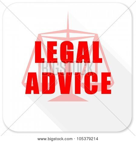 legal advice red flat icon with long shadow on white background