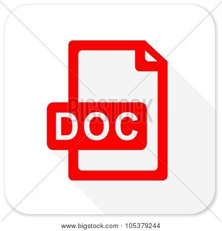 doc file red flat icon with long shadow on white background
