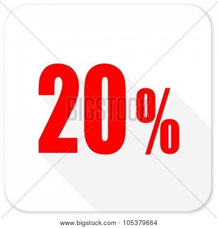 20 percent red flat icon with long shadow on white background
