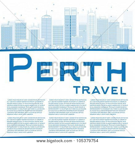 Outline Perth skyline with blue buildings and copy space. Vector illustration. Business travel and tourism concept with place for text. Image for presentation, banner, placard and web site.