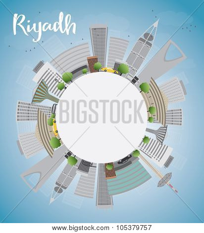 Riyadh skyline with grey buildings and blue sky. Vector illustration with copy space. Business and tourism concept with skyscrapers. Image for presentation, banner, placard or web site