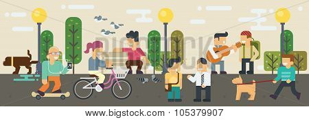 Life Style Free Time  Elements Vector Flat Illustration