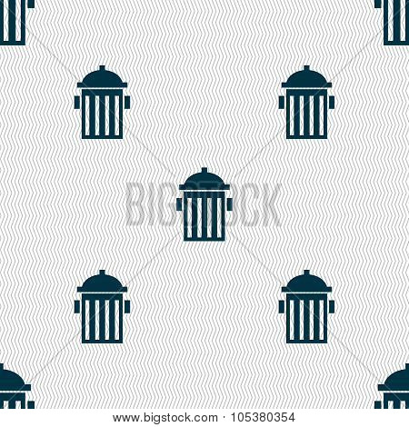 Fire Hydrant Icon Sign. Seamless Abstract Background With Geometric Shapes. Vector