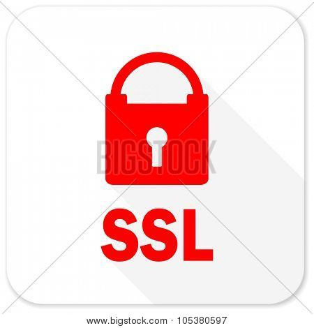 ssl red flat icon with long shadow on white background