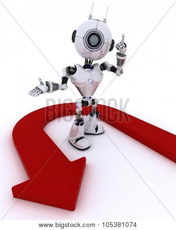 3D Render of a Robot with u turn arrow