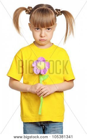 Portrait of little girl with flower isolated on white background