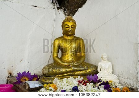 Two Buddha Statues With Flowers