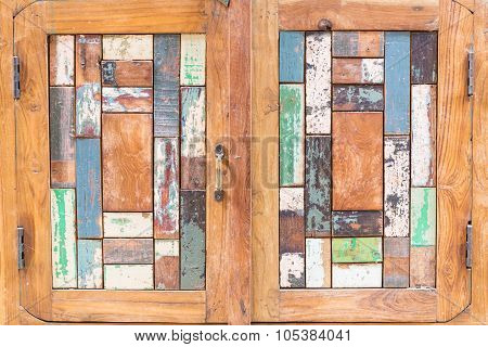 Old wooden door with color.