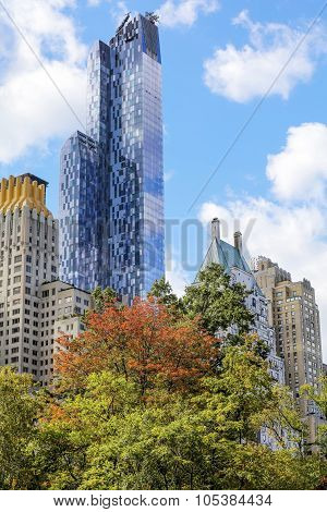 View From The Central Park Of New York To Skyscrappers
