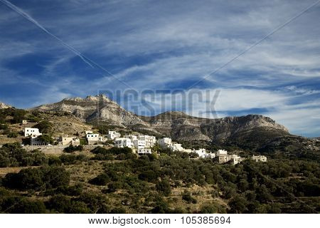 View of white houses in the mountains in Mori village in Naxos island in Greece