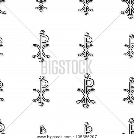 Seamless Labarum Pattern In Black On White