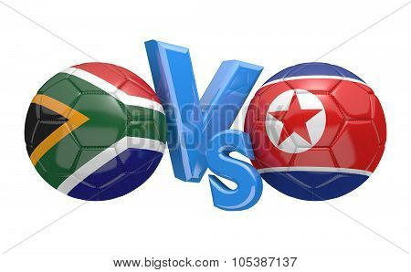 Soccer versus match between national teams South Africa and North Korea