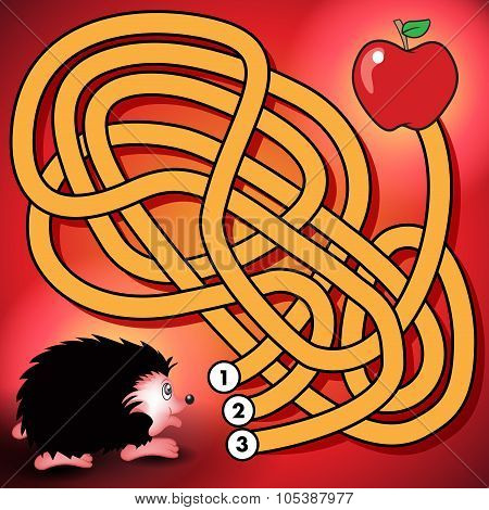 Hedgehog And Apple Maze Game