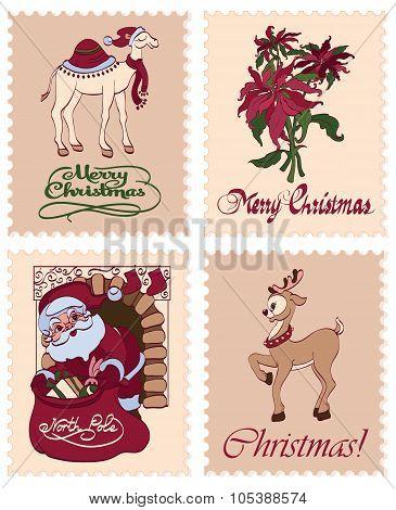 Vector Vintage Christmas Stamps Raindeer Santa Greetings Seamless Pattern