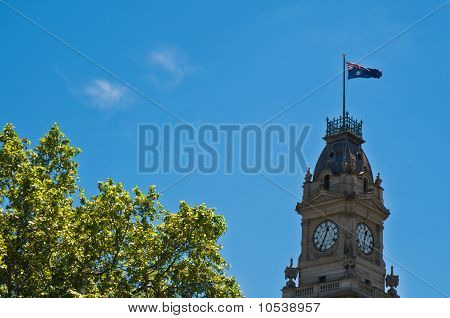 Gold Rush Era Clocktowe Flying The Australian Flag