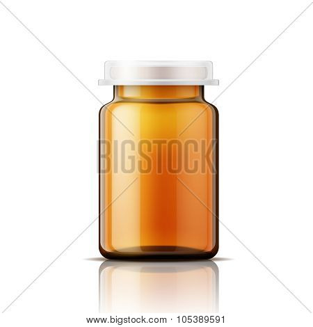 Glass bottle for pills.