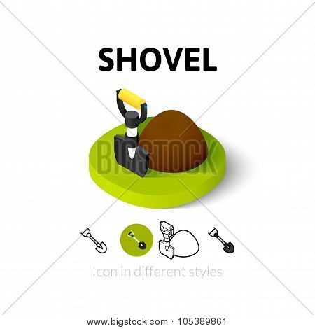 Shovel icon in different style
